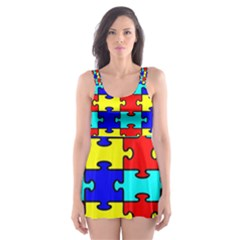 Game Puzzle Skater Dress Swimsuit