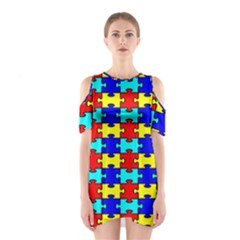 Game Puzzle Shoulder Cutout One Piece