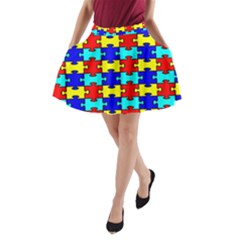 Game Puzzle A Line Pocket Skirt