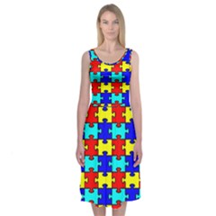 Game Puzzle Midi Sleeveless Dress