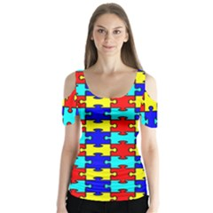 Game Puzzle Butterfly Sleeve Cutout Tee
