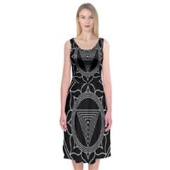 Kali Yantra Inverted Midi Sleeveless Dress