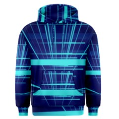 Grid Structure Blue Line Men s Pullover Hoodie