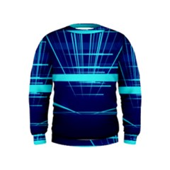 Grid Structure Blue Line Kids  Sweatshirt
