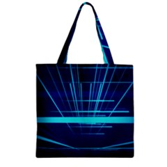 Grid Structure Blue Line Zipper Grocery Tote Bag