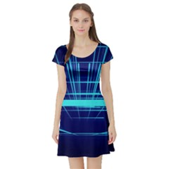 Grid Structure Blue Line Short Sleeve Skater Dress