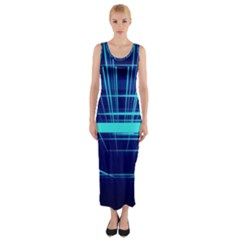 Grid Structure Blue Line Fitted Maxi Dress