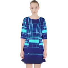 Grid Structure Blue Line Pocket Dress