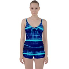 Grid Structure Blue Line Tie Front Two Piece Tankini
