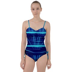 Grid Structure Blue Line Sweetheart Tankini Set