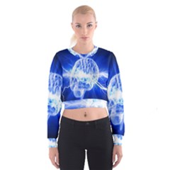 Lightning Brain Blue Cropped Sweatshirt