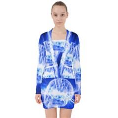 Lightning Brain Blue V Neck Bodycon Long Sleeve Dress
