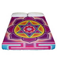 Kali Yantra Inverted Rainbow Fitted Sheet (california King Size)