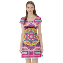 Kali Yantra Inverted Rainbow Short Sleeve Skater Dress