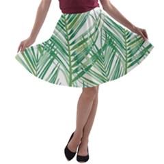 Jungle Fever Green Leaves A Line Skater Skirt