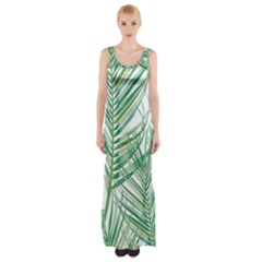 Jungle Fever Green Leaves Maxi Thigh Split Dress