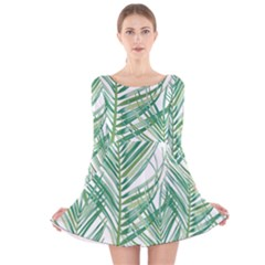 Jungle Fever Green Leaves Long Sleeve Velvet Skater Dress
