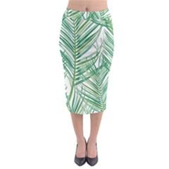 Jungle Fever Green Leaves Midi Pencil Skirt