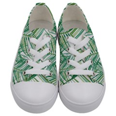 Jungle Fever Green Leaves Kids  Low Top Canvas Sneakers