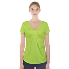 Line Green Short Sleeve Front Detail Top