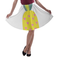 Pineapple Fruite Yellow Triangle Pink A Line Skater Skirt