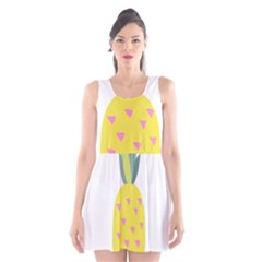 Pineapple Fruite Yellow Triangle Pink Scoop Neck Skater Dress