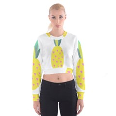 Pineapple Fruite Yellow Triangle Pink Cropped Sweatshirt