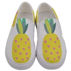 Pineapple Fruite Yellow Triangle Pink Men s Canvas Slip Ons
