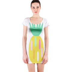 Pineapple Fruite Yellow Triangle Pink White Short Sleeve Bodycon Dress