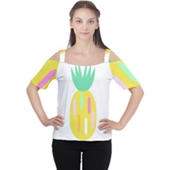 Pineapple Fruite Yellow Triangle Pink White Cutout Shoulder Tee