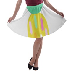 Pineapple Fruite Yellow Triangle Pink White A Line Skater Skirt