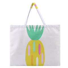 Pineapple Fruite Yellow Triangle Pink White Zipper Large Tote Bag