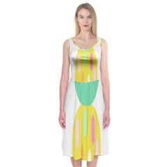 Pineapple Fruite Yellow Triangle Pink White Midi Sleeveless Dress