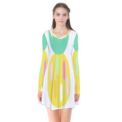 Pineapple Fruite Yellow Triangle Pink White Flare Dress