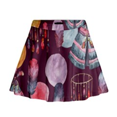 Boho Tribal Watercolor Pattern  Mini Flare Skirt