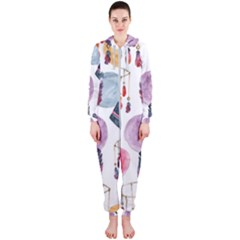 Boho Tribal Watercolor White Pattern Hooded Jumpsuit (ladies)