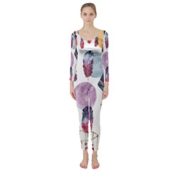 Boho Tribal Watercolor White Pattern Long Sleeve Catsuit
