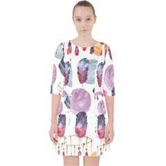Boho Tribal Watercolor White Pattern Pocket Dress