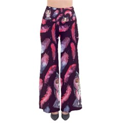 Boho Owl And Feather Pattern Pants