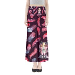 Boho Owl And Feather Pattern Full Length Maxi Skirt