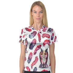 Boho Owl And Feather White Pattern V Neck Sport Mesh Tee