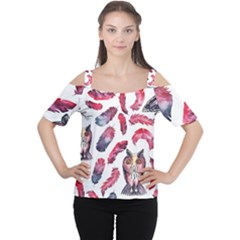 Boho Owl And Feather White Pattern Cutout Shoulder Tee
