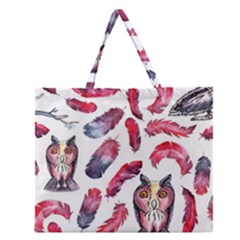 Boho Owl And Feather White Pattern Zipper Large Tote Bag