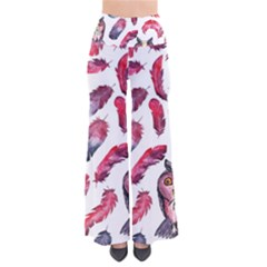 Boho Owl And Feather White Pattern Pants