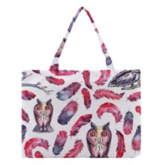 Boho Owl And Feather White Pattern Medium Tote Bag