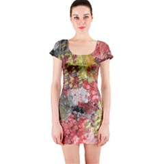 Garden Abstract Short Sleeve Bodycon Dress