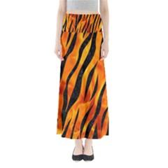 Skin3 Black Marble & Fire (r) Full Length Maxi Skirt