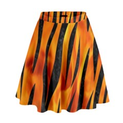 Skin3 Black Marble & Fire (r) High Waist Skirt