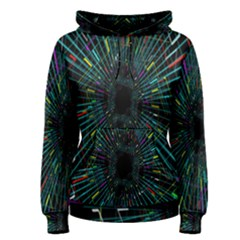 Colorful Geometric Electrical Line Block Grid Zooming Movement Women s Pullover Hoodie