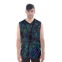 Colorful Geometric Electrical Line Block Grid Zooming Movement Men s Basketball Tank Top